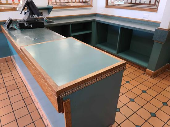 Wooden Counter w/Compartments(8Ftx2Ft, 6Ftx1.5Ft, & 7Ftx1.5Ft)
