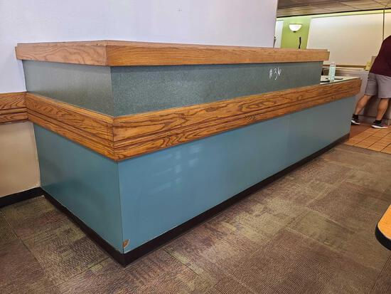 L-Shape Wooden Counter w/Compartments(13ft Long x 52in Wide & 50in Tall)