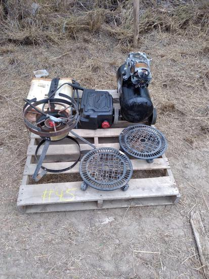 Pallet w/Misc. Items & Small Air Compressor