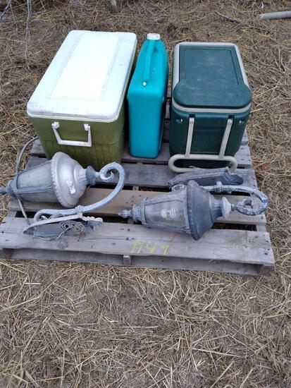 (2) Ice Chests, (2) Outdoor Lamp Light Fixtures