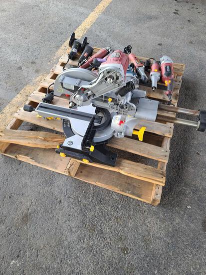 Pallet w/Router, miter Saw in Parts, Grinders, Heat Gun, Saw-Saw