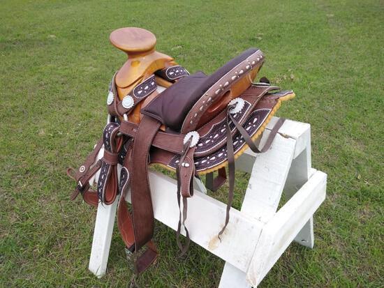 New 2021 Horse Saddle w/Brown Charro...Style Tree