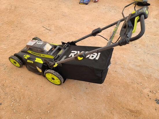 Black w/Lime Green Ryobi Cordless Lawn Mower ''No Battery''