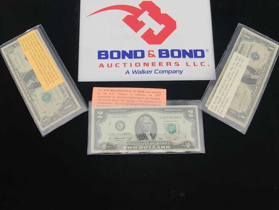''1976'' Bicentennial $2 Note Bill, $1 Scare Barr Note Bill, Old Silver Certificate $1 Bill