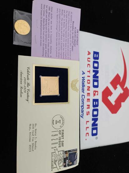 Alabama 24K Gold ''Color'' Quarter, Gold ''Color'' Stamp