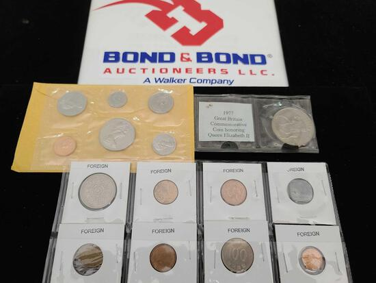 Group of Foreign Coins, ''1977'' Great Britain Commemorative Coin Honoring Queen Elizabeth II,