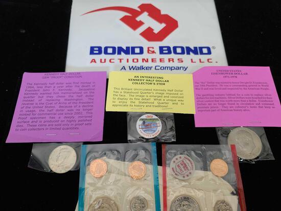 Kennedy Half Dollar, Eisen Hower Dollar Coin, Kennedy Brilliant Uncirculated Half Dollar & Treasury