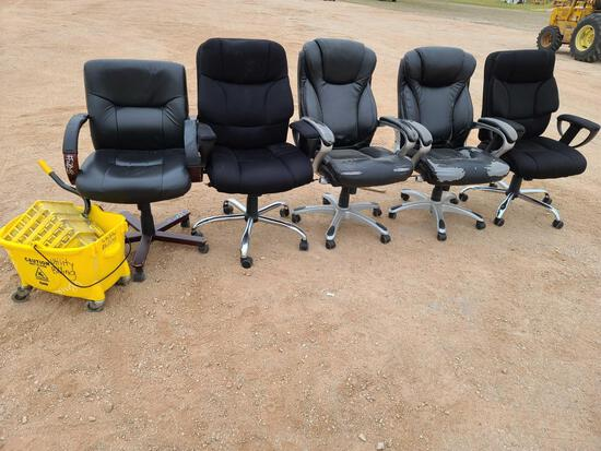 (5) Office Chairs & (1) Commercial Mop Bucket