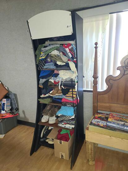 Shelf W/ Different Clothes & Shoes
