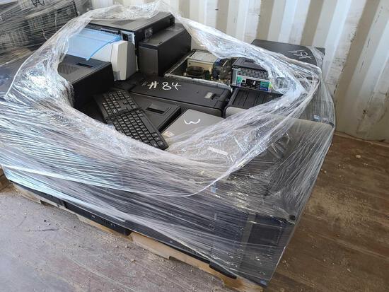 Pallet w/CPU Towers, Printer & Keyboard
