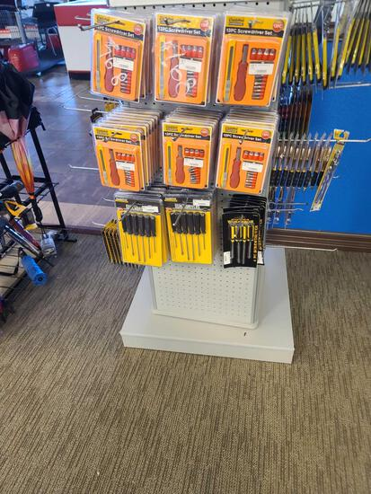 Rack w/Screw Drivers, Wrenches, Pliers, Locks, Box Cutter Knife Sets (Rack Not Included)