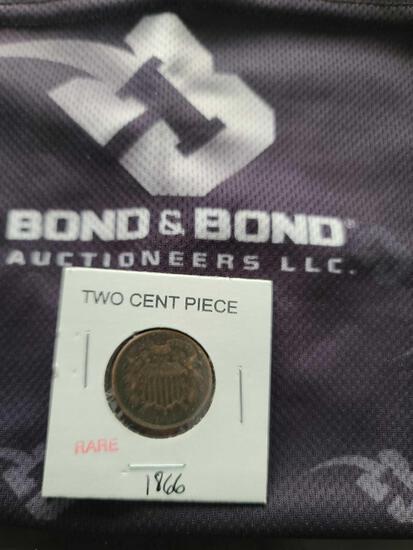 (1) Rare Two Cent Piece ''1866''