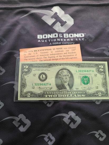 Lot w/(1) 1976 Bicentennial $2 Note, (1) Scarce Barr Note $1 & (1) Old Silver Certificate $1
