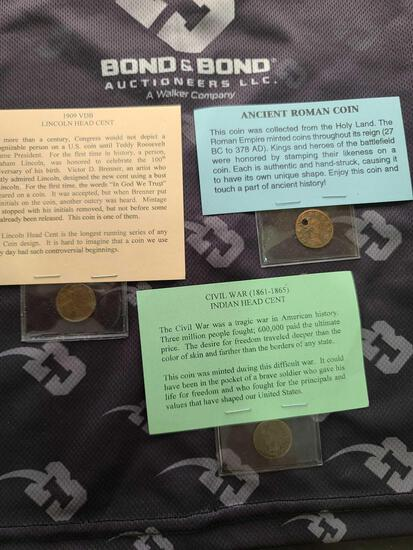 Lot w/(1) 1909 VDB Lincoln Head Cent, (1) Ancient Roman Coin & (1) Civil War (1861-1865) Indian Head