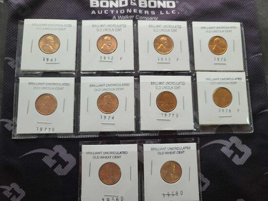 Lot w/Brilliant Uncirculated Old Lincoln Cents & Old Wheat Cents
