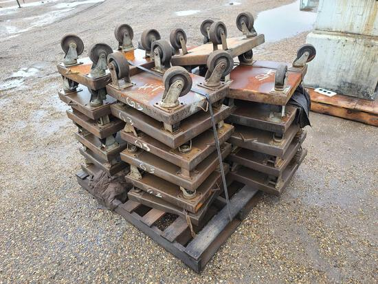 Group of Small Metal Roll Around Square Dolly's