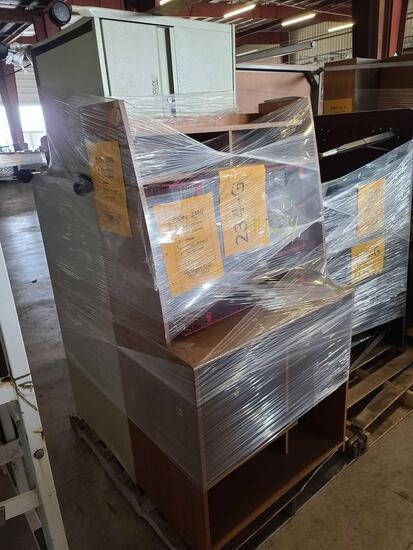 Lot w/2 File Cabinets, 1 Cart Cabinet, 1 Metal, 1 Desk Drawer, 1 Metal Rack