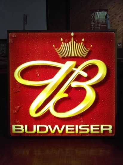 Modern Double Sided Budweiser Beer Sign