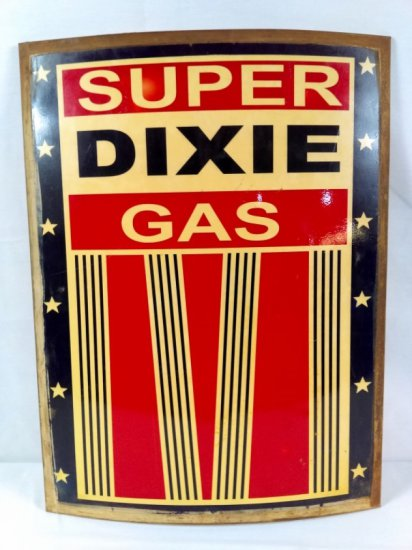 Convex Pressed Tin Dixie Gas Sign