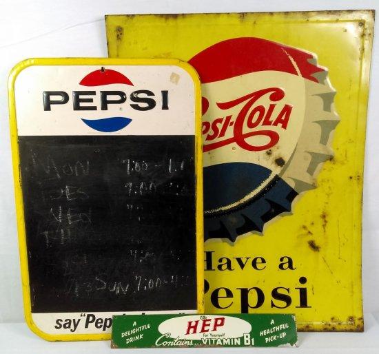 Tin Pepsi/Menu Board & HEP Vitamin Signs