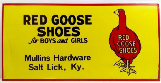 Red Goose Shoe Sign