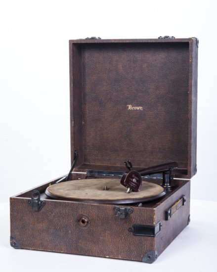 Brown Electric Suitcase Disc Phonograph
