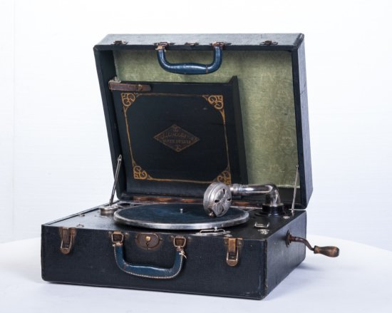 Silver Tone Suitcase Disc Phonograph