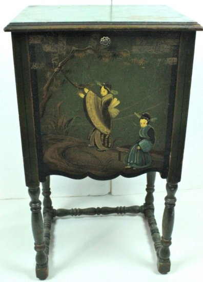 Small Hand Painted Disc Record Cabinet