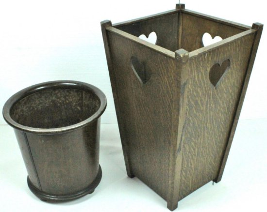 Two Wooden Waste Baskets