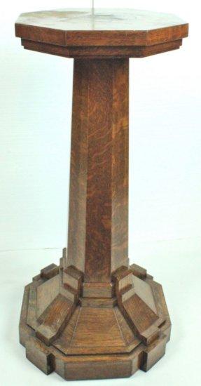 Octagonal Oak Phonograph Pedestal