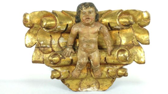 Antique Carved Wood Cherub Accent Piece-Carousel?