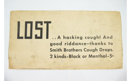 Smith Brothers Cough Drops Paper Sign