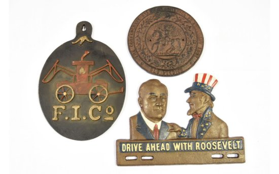 3 Cast Iron History-Related Plaques