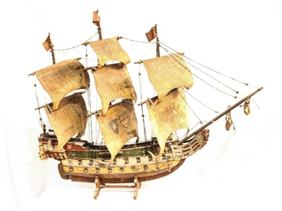 Wooden Scale Model 3 Masts Sailing Ship