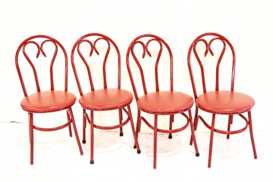 Red Metal Ice Cream Parlor Chairs