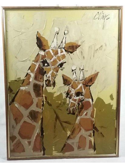 Colins Giraffes Framed Oil Painting
