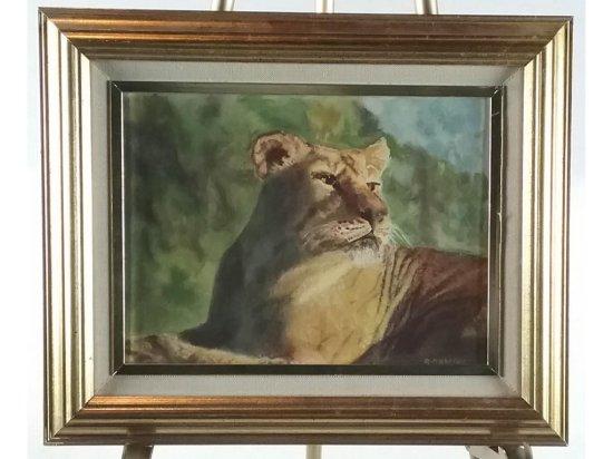 R. Dahling Lion Framed Oil Painting