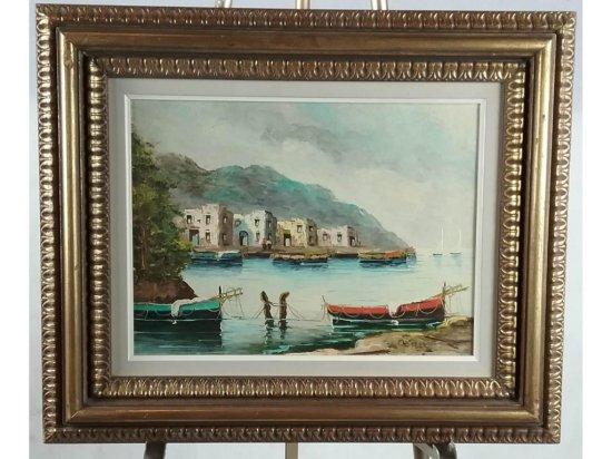 Harbor Scene Framed Oil on Plywood