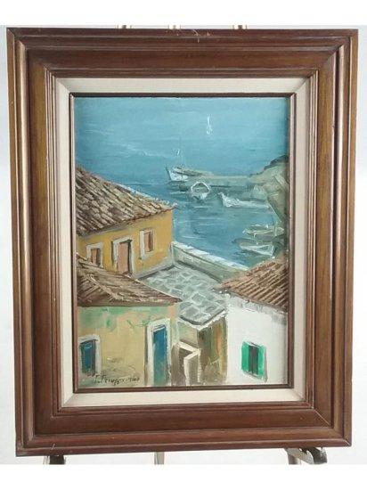 Harbor Scene Framed Oil on Canvas Painting