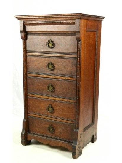Early Columbia Oak Five Drawer Cylinder Cabinet