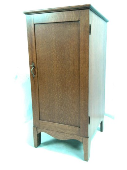 Early Oak Cylinder Record Cabinet-Single Door
