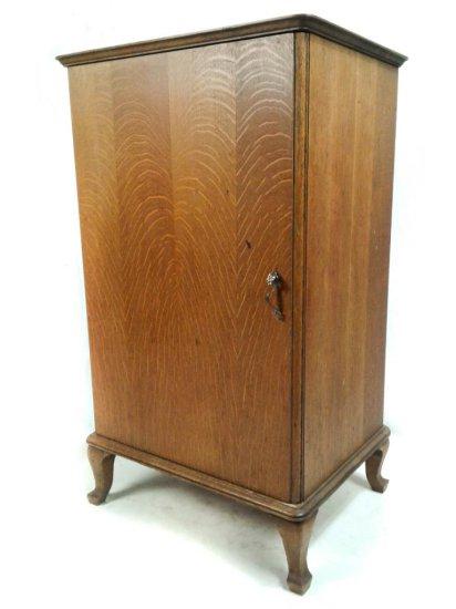 Cylinder Record Oak Cabinet