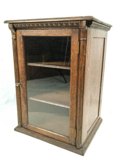 Glass Door Oak Counter Cabinet