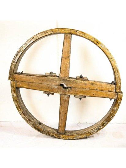 Industrial Wooden Belt Wheel Antique