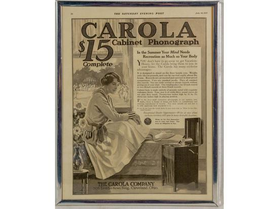 1916 Carola Cabinet Phonograph Advertisement