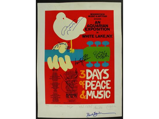 Woodstock Grateful Dead The Who Signed Poster 1969