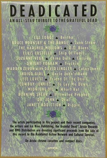Arista Deadicated Grateful Dead Promo Poster 1991 | Art
