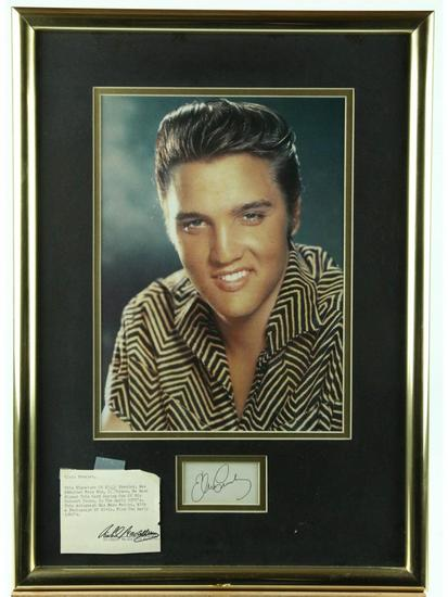 Elvis Presley Framed Photo With Autograph
