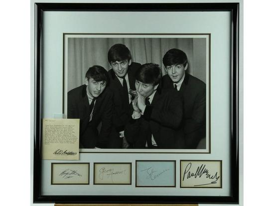 Beatles Framed Photo With Matted Signatures