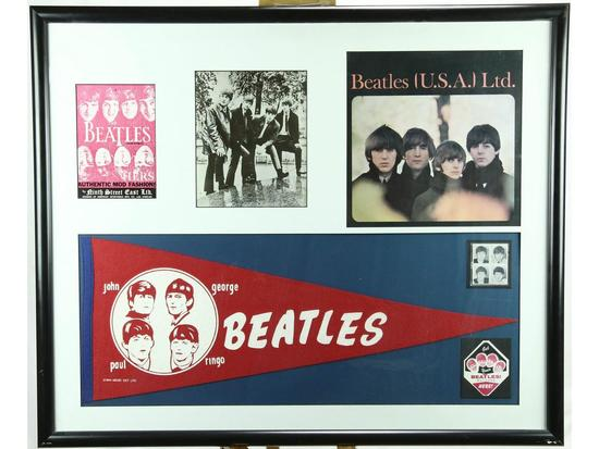 Beatles Framed Photos Stamps and Pennant